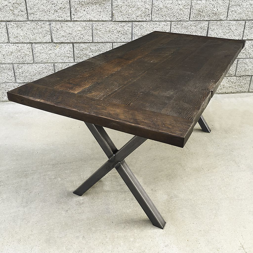 Hand made industrial style reclaimed wood and steel dining