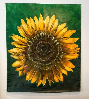 Custom Made Sunflower Art Dark Green Background Commission Painting