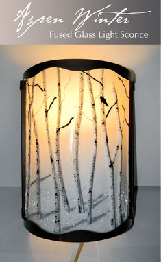 Custom Made Aspen Winter Fused Glass Sconce