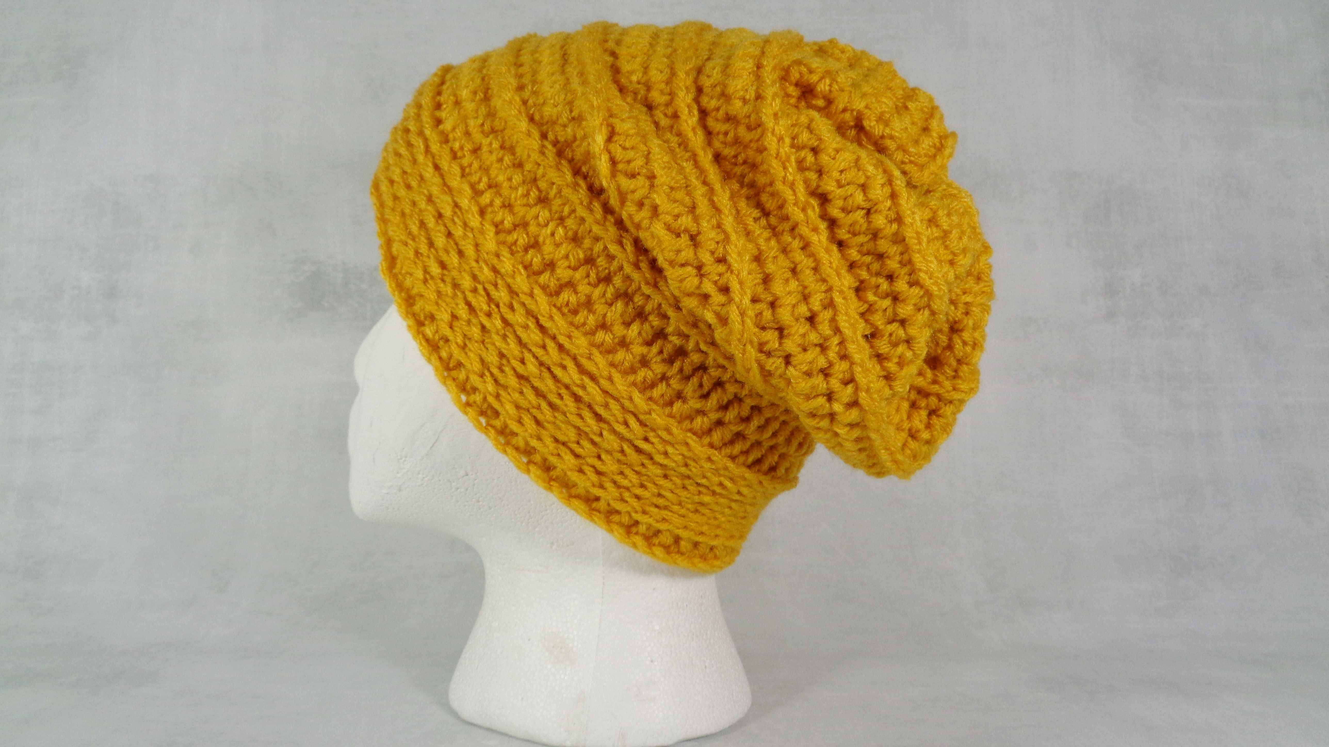 a29f922c438 Buy a Hand Made Gold Dark Yellow Winter Or Summer Slouchy Beanie Hat Baggy Beanie  Hat Hipster Beanie