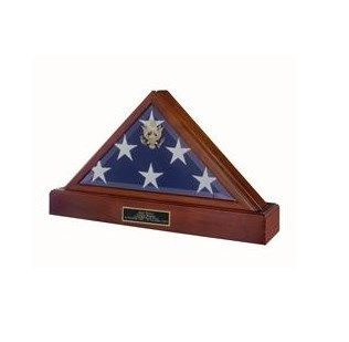 Custom Made Burial Flag And Pedestal Display Case