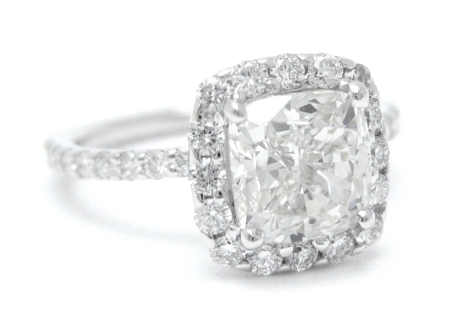 Custom Made Harry Winston Cushion Cut Inspired Diamond Engagement Ring