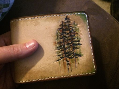 Custom Made Pine Tree Outdoor Rustic Leather Wallet