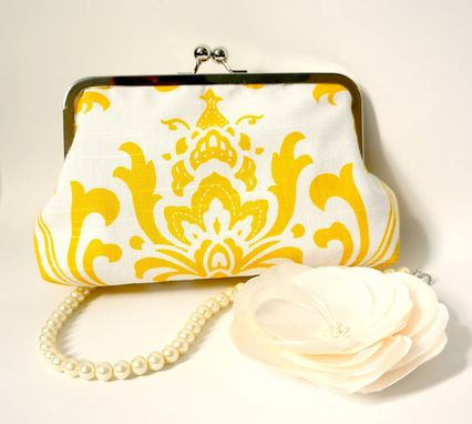 Custom Made White And Yellow Clutch With Damask Print