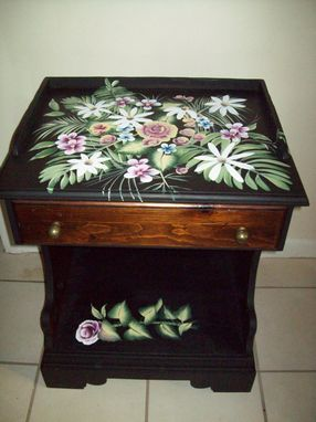 Custom Made Night Table Handpainted With Flowers
