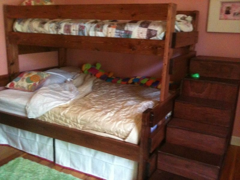 Handmade Twin Over Full Bunk Bed With Staircase Storage By