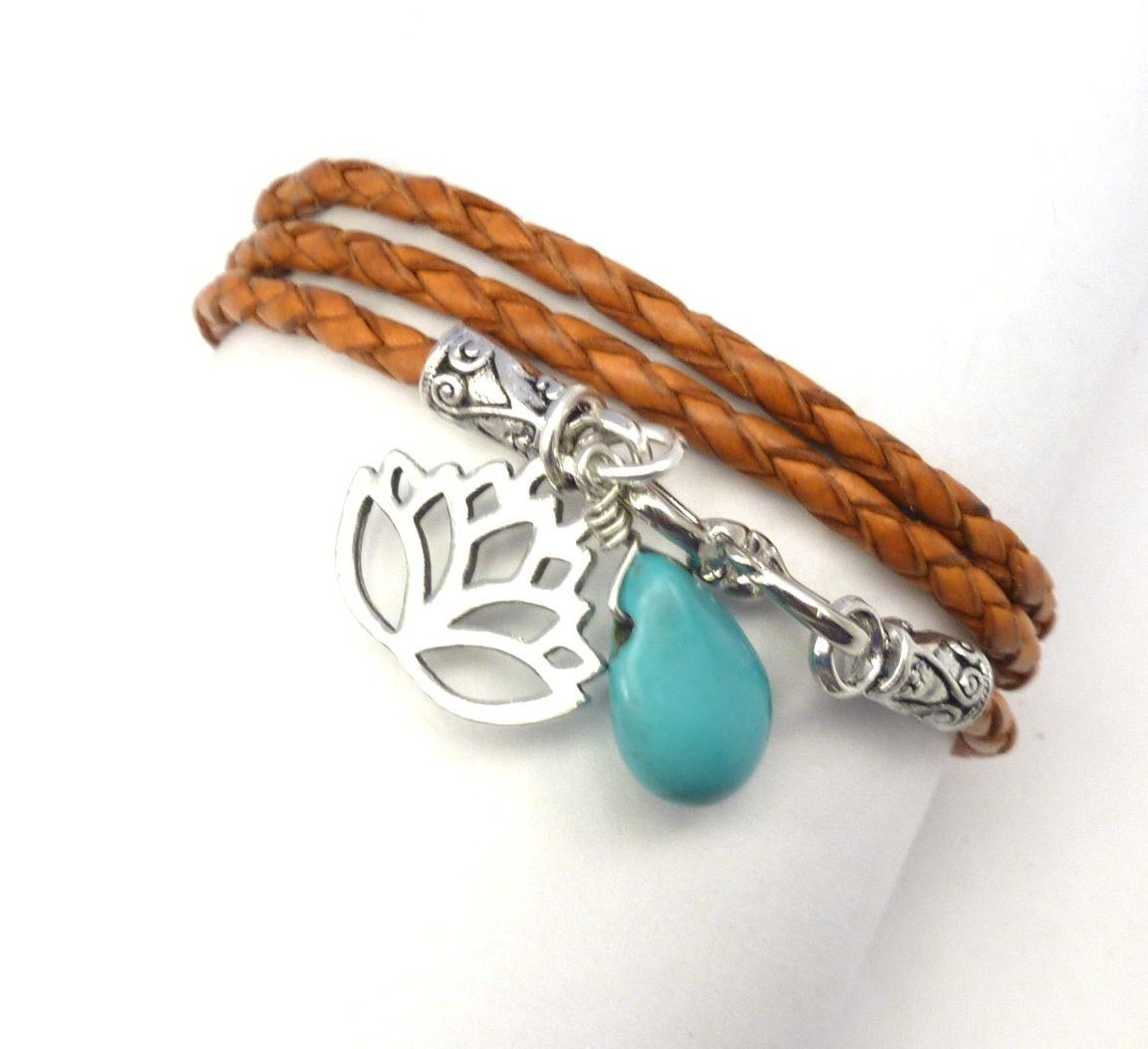Hand Made Orange Braided Leather Wrap Bracelet With Lotus