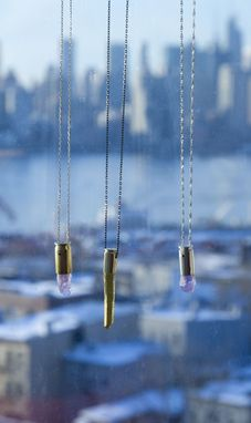 Custom Made Gold Bullet Shell Gold Dipped Crystal Necklace