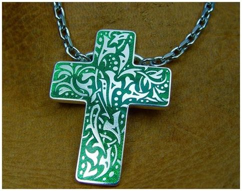 Custom Made Silver Cross With Green Enamel
