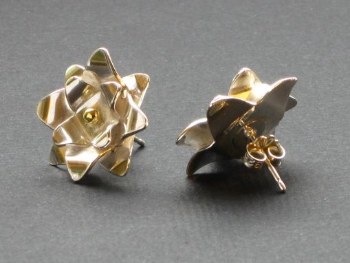Custom Made Silver And Gold Accent Sunburst Studs