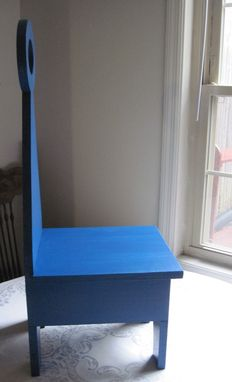Custom Made Hand Crafted And Painted Wood Shaker Inspired Multi-Purpose Step Stool With Handle / Chair