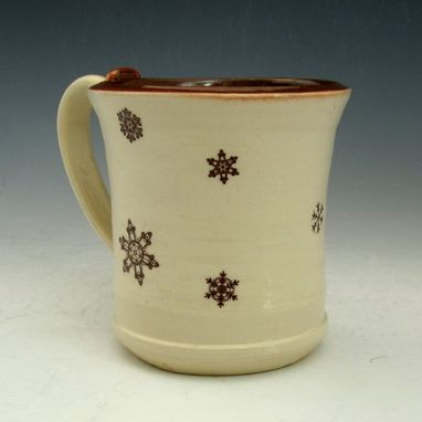 Custom Made Ceramic Mug With Snowflakes In Cream And Red