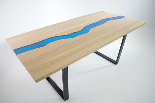 Custom Made Resin River Table. White Oak And Turquoise Resin