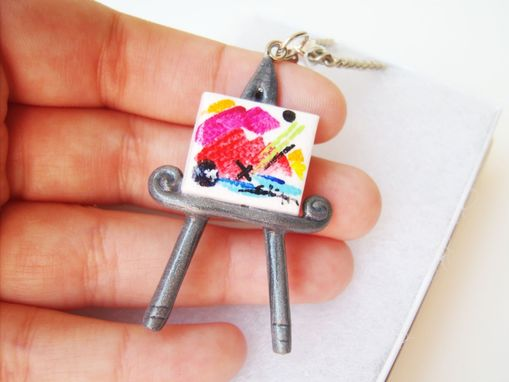 Custom Made Miniature Canvas And Easel Polymer Clay Necklace - Hand Painted Original