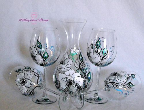 Custom Made Anemone & Peacock Feathers Custom Wine Glasses & Decanter Set