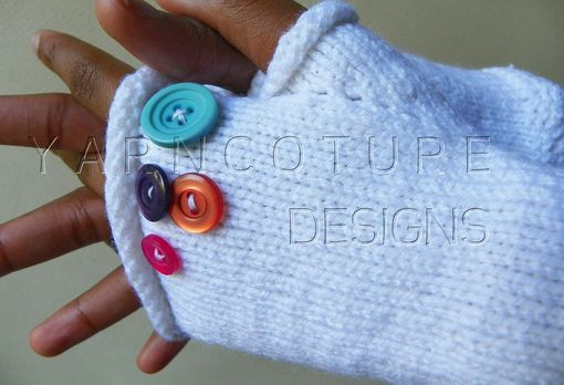 Custom Made Buttonz Hand Knit Fingerless Gloves/Mitts / Plain Jane Series In White