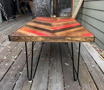Custom Made Wine Barrel Chevron Coffee Table With Free Shipping