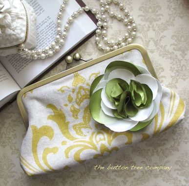 Custom Made Yellow Damask Bridesmaid Clutch Purse