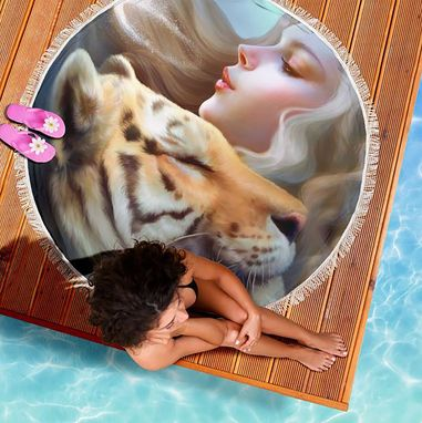 Custom Made Summer Beach Towel Vacation Pool Beach Blanket Fantasy Tiger Love Towel
