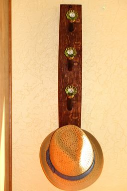 Custom Made Wine Stave Hat/Scarf Rack - Green Glass