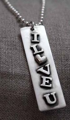 Custom Made Sterling Silver - I Love You Tag Necklace