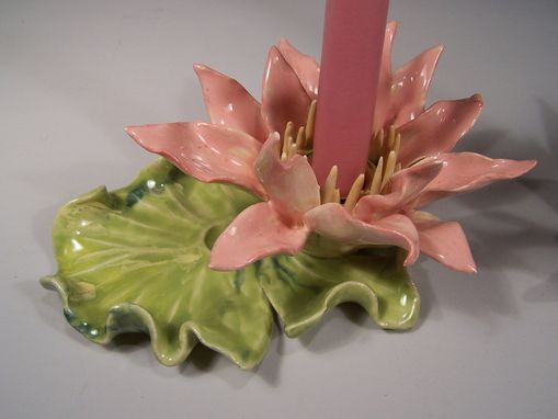 Custom Made Pair Of Waterlily Candlestick Holders - Hand Sculpted, One Of A Kind, Porcelain