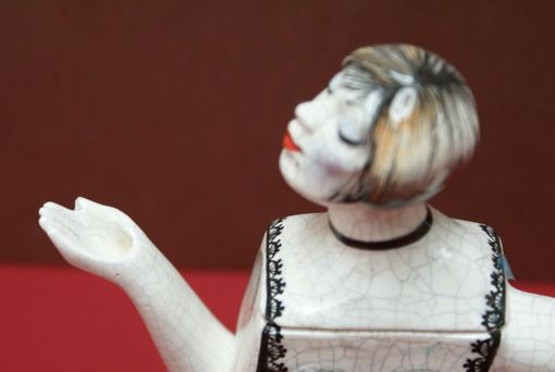 Custom Made Porcelain Teapot Girl W Frosted Bob In Black 2 Piece Lace Suit