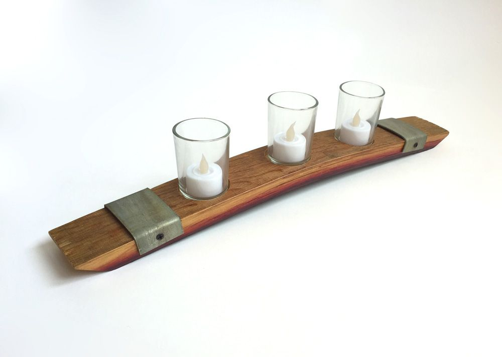 Buy A Handmade Candle Holder Made From French Wine Barrel With Metal