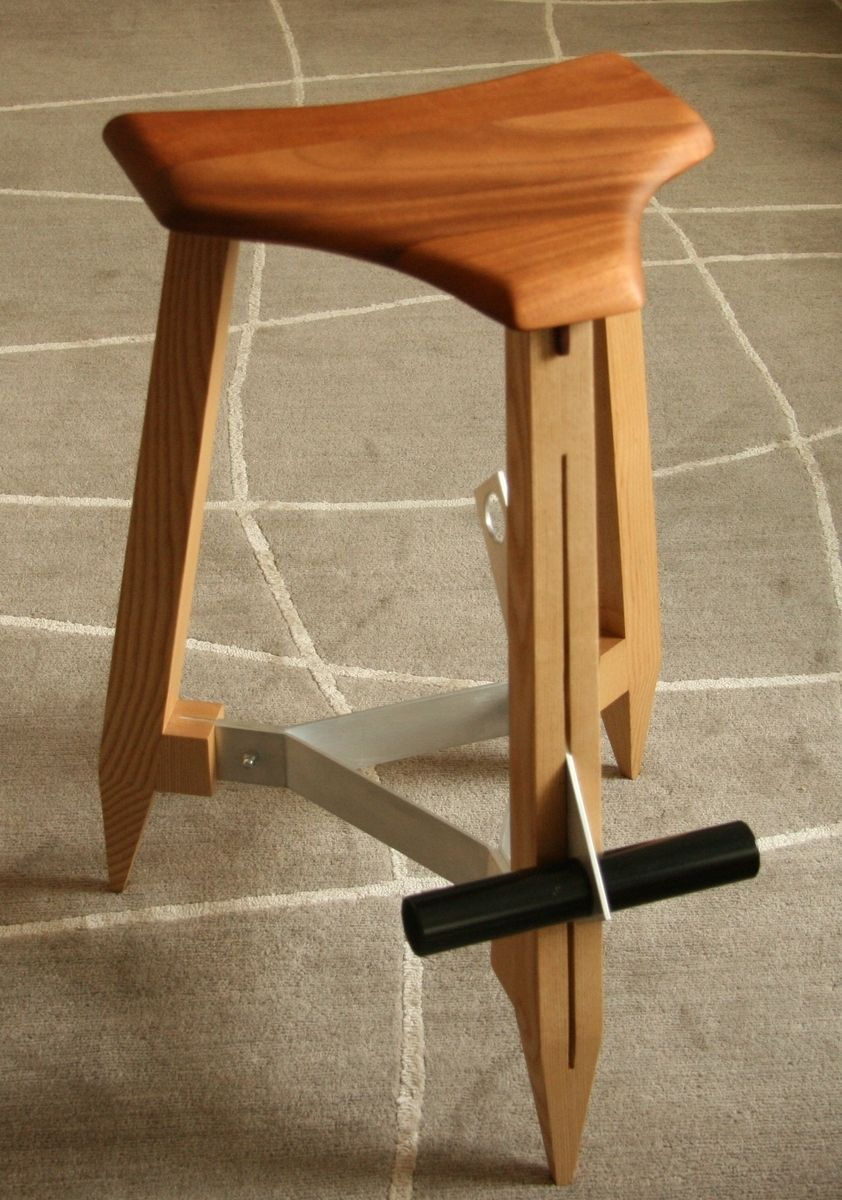 Handmade Modern Mahogany Stool With Adjustable Footrest By