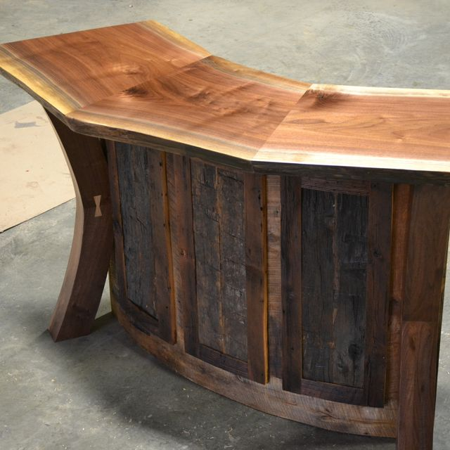 Hand Crafted Live Edge Walnut And Reclaimed Curved Bar Reception Desk By Corey Morgan Wood Works Custommade