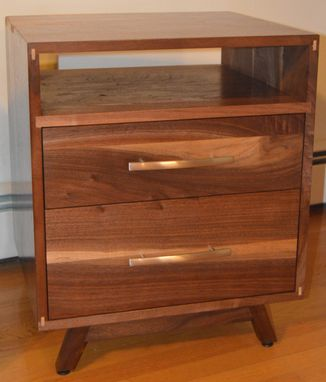 Custom Made Solid Walnut Danish Modern Nightstand