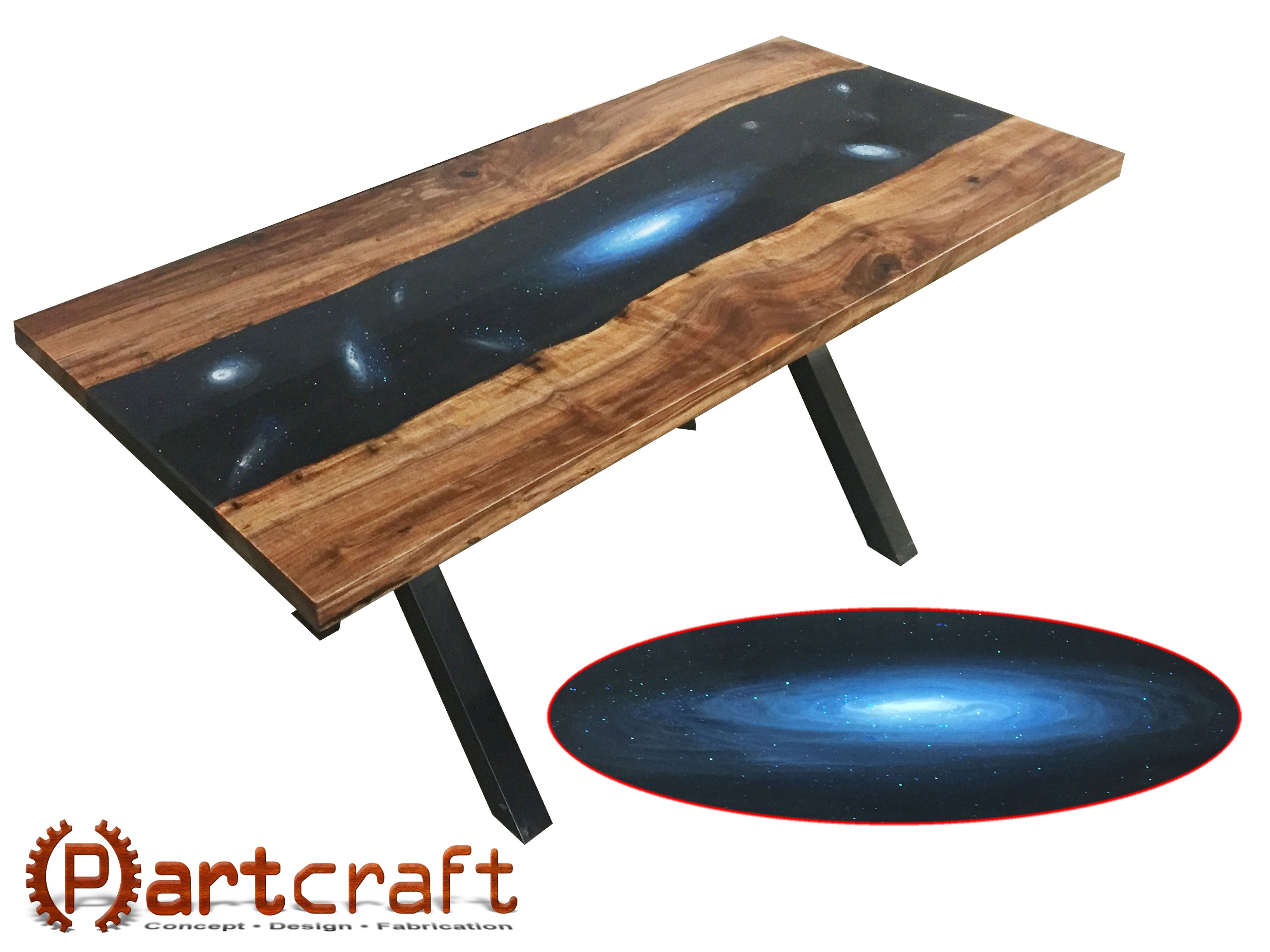 Hand Crafted Large Galaxy Themed Resin River Table Suitable For - Detachable conference table