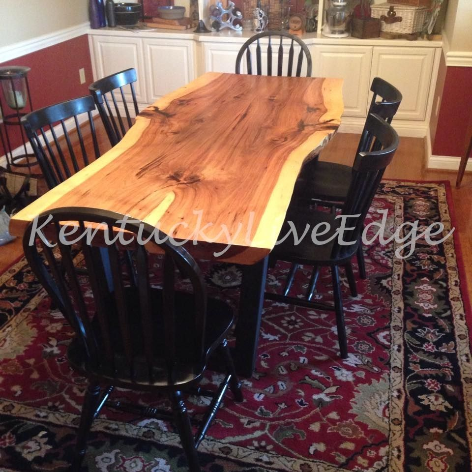 Custom Made Industrial Dining Table Live Edge Hickory Slab