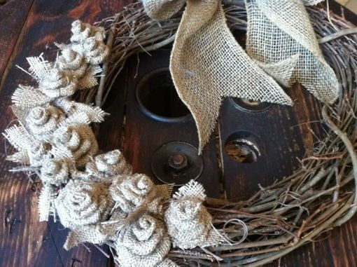 Custom Made 18in Rustic Burlap And Grapevine Wreath