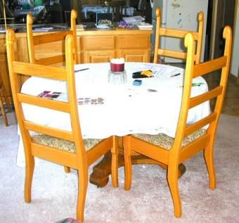 Custom Made Red Oak Ladder Back Dining Chairs
