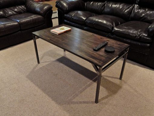 Custom Made Maine Red Oak And Raw Steel Handcrafted Coffee Table