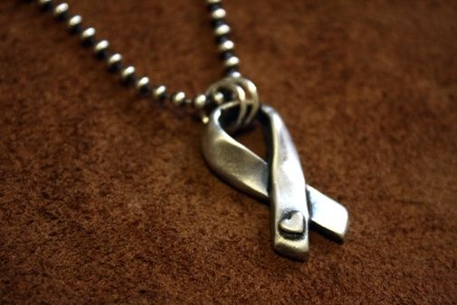 Custom Made Fine Silver - Organic Style Awareness Ribbon Necklace