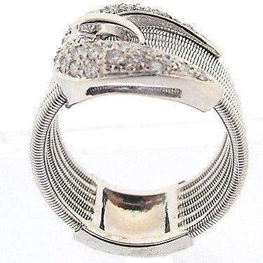 Custom Made Equestrian Horse Lovers 14k White Gold Buckle Diamond Ring 0.50ct