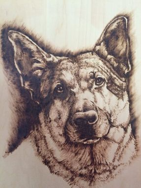 Custom Made German Shephard Pet Portrait Pyrography