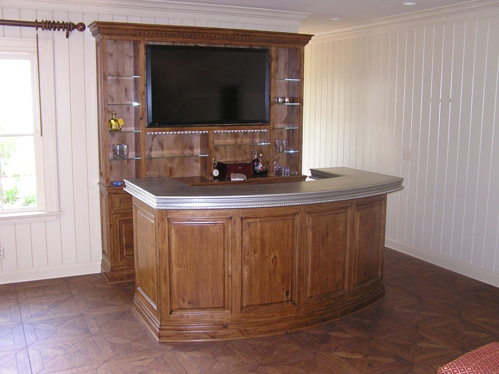 Custom Made Knotty Alder Bar With Entertainment Center