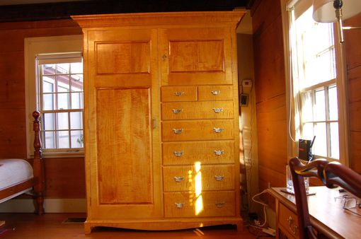 Custom Made Curly Maple Armoire