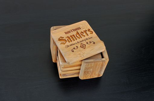 Custom Made Custom Bamboo Coasters, Custom Engraved Coasters --Cst-Bam-Sanders