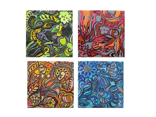 "Custom Made Abstract Painting Small Nature Art- 12""X12"" Set Of 4 Nature Painting Red Blue Green Yellow"