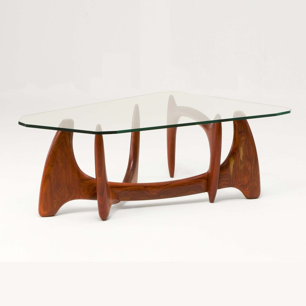 Hand Crafted Coffee Table Glass Top Mid Century Modern Handmade Wood Base By Nathan Hunter Design