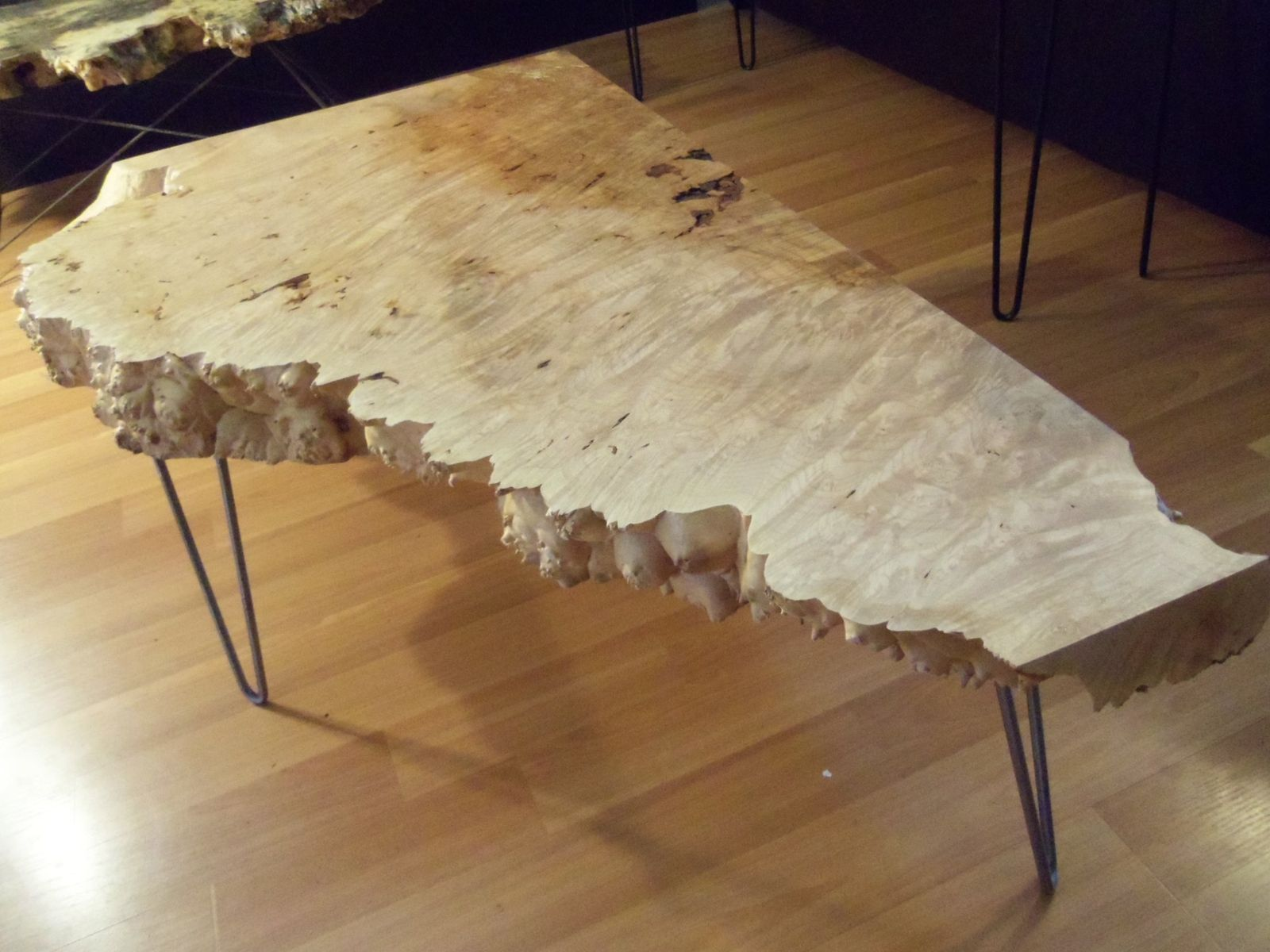 Hand Crafted Live Edge Maple Burl Coffee Table With Hairpin Legs