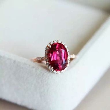 Custom Made 2.7 Carat Tourmaline Ring In 14k Rose Gold