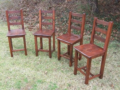 Custom Made Reclaimed Antique Oak Bar Height Dining Chairs
