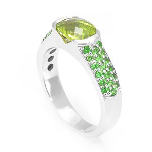Custom Made Oval Peridot With Emerald Engagement Ring In 14k White Gold, August Birthstone Ring, Ladies Ring