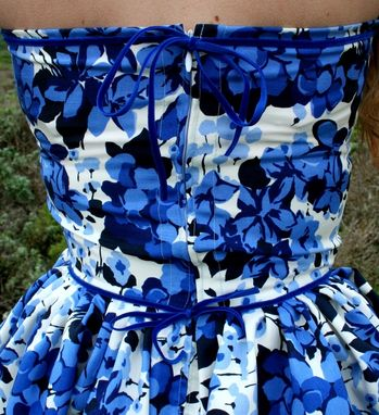 Custom Made Custom Made To Fit Sweetheart Cobalt Silk Floral Pinup Dress With Velvet Piping