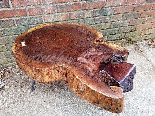 Custom Made Live Edge Coffee Table- Round Table- Tree Slice- Log Table- Thick- Walnut- Natural Wood- Reclaimed